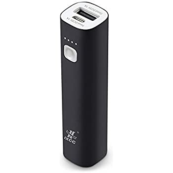 Mini 3400mAh Portable Power Bank, iXCC (3rd Generation) Lipstick-Sized Charger Compact Aluminum External Battery for iPhone, Galaxy and More - Black
