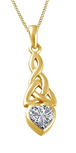 AFFY Trinity Heart Celtic Knot Pendant Necklace Simulated Zirconia 14K Yellow Gold Over Sterling Silver