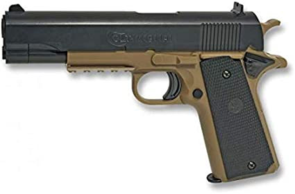 Pistola Airsoft Aire Suave Colt 1911 Potencia 0,50 Julios Airsoft Replica Paintball Caza Supervivencia tactico Senderismo Camping Outdoor Albainox 38268 + Portabotellas de regalo