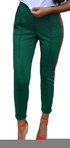 Zago Womens Sport Elastic Waist Stripe Classic Casual Pencil Pants Green L
