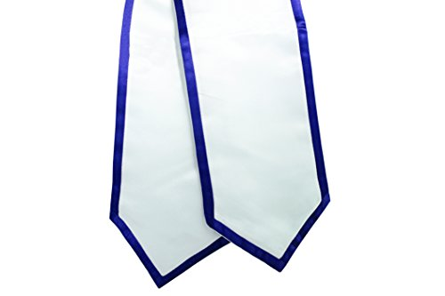 Classic End White Graduation Honor Stole with Trim (Royal Blue) ()