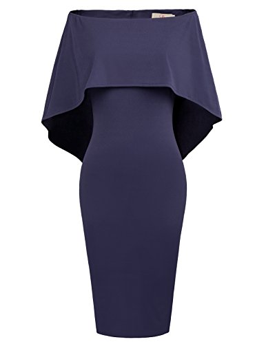GRACE KARIN Women Overlay Strapless Ruffle Bodycon Party Midi Dress XL Navy Blue