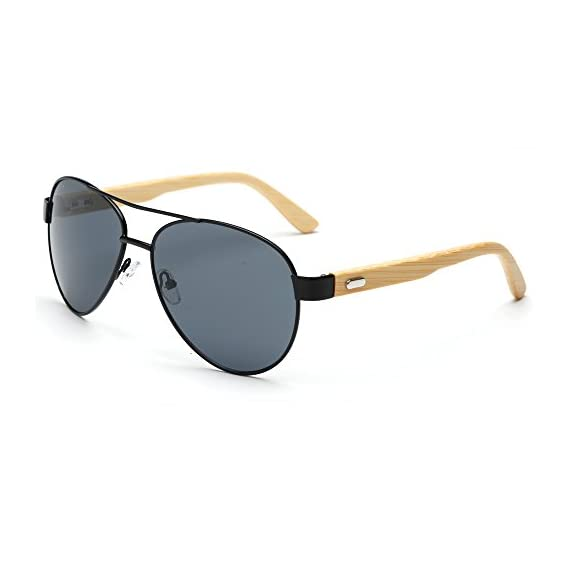 VeBrellen Bamboo Wood Arms Classic Mirrored Sunglasses For Men & Women 1 1.Materials——AC lens & Bamboo Temple. 2.Bamboo Temple——Only eco-friendly and recycled wood used. No harm is done to the environment, feel good about yourself! 3.Flexible Alloy Frame. The More Flexible the More Comfortable. No Worry About Glasses Falling Down. Half frame, special and vintage design.