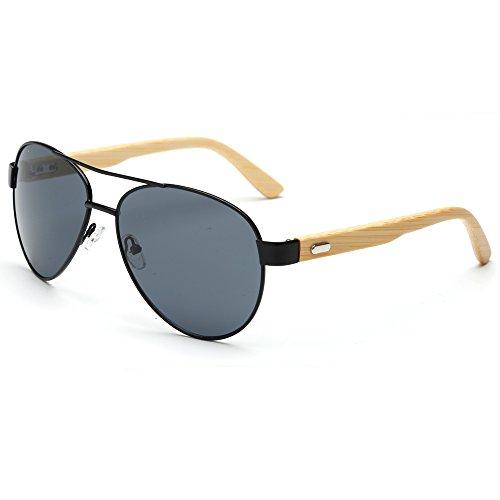 Mens Gold Frame Aviator Sunglasses : VeBrellen Mens Sunglasses Bamboo Wood Arms Classic ...