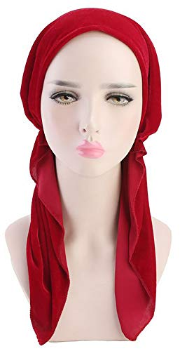 Ababalaya Women's Soft Luxury Velvet Pre-Tied Chemo Beanie Bandana Muslim Turban Tichel,Red+Purple by Ababalaya (Image #5)