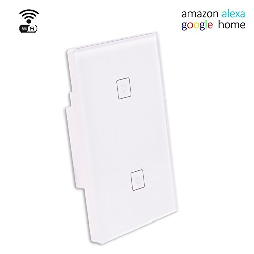 Control Gang (Smart Wifi Light Switch,Wireless Wall Touch Panel work with Alexa Echo,Google home, IFTTT,Smartphone App Remote Control Time Function (2 Switches 1 Gang))