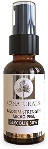 OZNaturals Glycolic Acid Chemical Peel: Glycolic 30% Medium Strength Micro Peel - Alpha Hydroxy Acid Facial Skin Exfoliant Peeling Serum - Anti Aging AHA Exfoliating Chemical Peels for Face - 1 Fl Oz