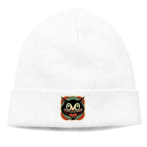 (Women's Men's Knitted Hat Vintage Art Deco Black Cat Cap Female Headscarf Hat White)