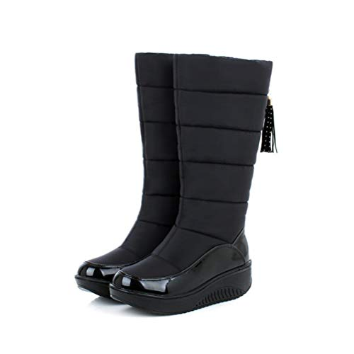 Snow Boots for Women Shoes Platform Patent Leather Tassel Footwear Cotton Mid Calf Winter Boots Plus Size 35-44 ()