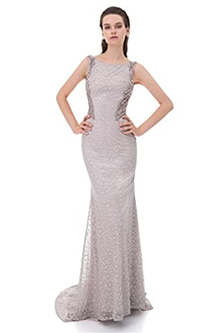 LiCheng Bridal Sparkly Full Beaded Sleeveless Mermaid Long Evening Party Gowns Prom Dresses With Sweep Scoop Neck Grey - Full Sweep Gown