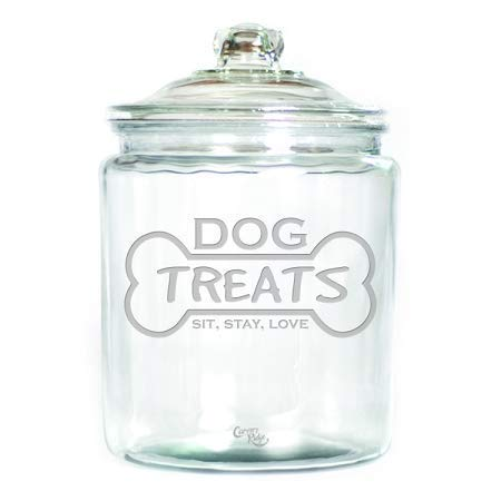 (Engraved Glass Half Gallon Canister - Dog Treats)