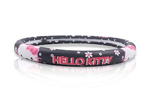 Finex Hello Kitty Car Steering Wheel Cover - Flowers Black - Universal Fit Auto Accessories