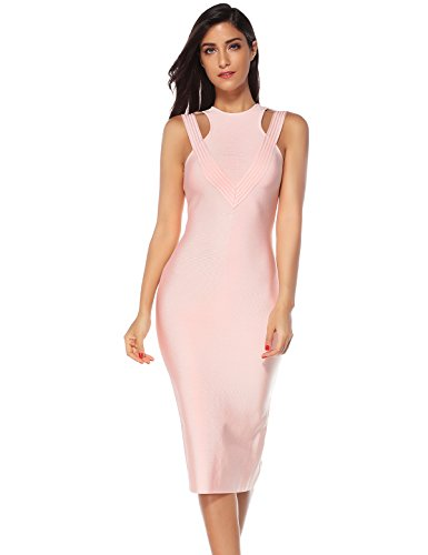 Meilun Women's Rayon Hollow Out Celebrity Evening Party Bandage Dress Pink M