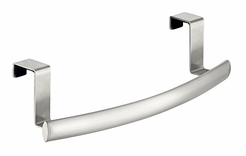 InterDesign Axis Curved Over-the-Cabinet Kitchen Dish Towel Bar Holder - Brushed Stainless Steel