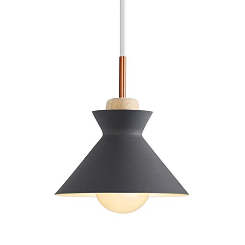 Nordic Modern Pendant Ceiling Light Nordic Macaron Aluminum+Wood Chandelier Fixture Kitchen Pendant Lighting Living Room Pendant Lighting-UL Certification (Grey-B) by iYoee