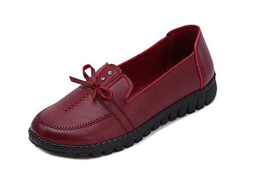 Fancyww Women's Slip-On Loafer Shoes Leather Flat Casual Driving Shoes(Red-40/8-8.5 B(M) US Women)