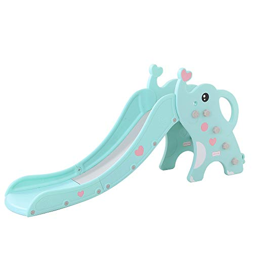 WenStorm Slide for Boys Girls Indoor Outdoor Backyard Use First Slide Playground Plastic Play Slide Climber with Basketball Hoop Elephant Sky Blue by WenStorm (Image #7)