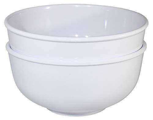 Chef Miso Set of 2 Extra Large Melamine Serving/Ramen Bowls - White Pho Bowls 60 Ounces