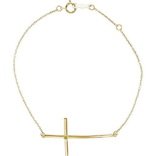 14K Yellow Peridot Sideways Cross Bracelet by DiamondJewelryNY