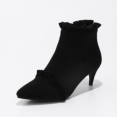 Booties EU42 CN43 Nubuck Shoes Boots Kitten 5 Pointed Heel Lining Boots UK8 Toe Fluff Fashion 5 Ruched Ankle Women'S Leather Boots Fall US10 Spring For RTRY Zipper ZqgFExE