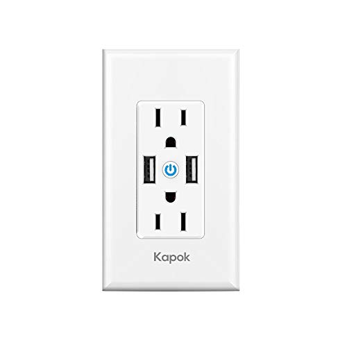 Kapok WiFi Smart Wall Outlet, Divided Control 2 In-wall Sockets with 17W Fast Charger, Smart Life/Tuya APP Remote Control Compatible with Alexa and Google Home No Hub Required