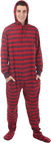 (Funzee Footed Pajamas Adult Onesie Romper PJs Jumpsuit - Size on Height (Small) Red, Purple)