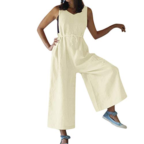 Lovygaga Fashion Women Summer Comfy Breathable Linen Wide Leg Pants Jumpsuit Casual Pure Loose Sleeveless Romper Beige