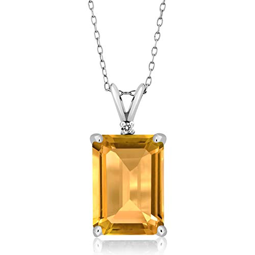 Gem Stone King Sterling Silver Yellow Citrine and White Diamond Pendant Necklace (8.22 cttw Gemstone Birthstone Emerald Cut 14X10MM with 18 Inch Silver Chain)