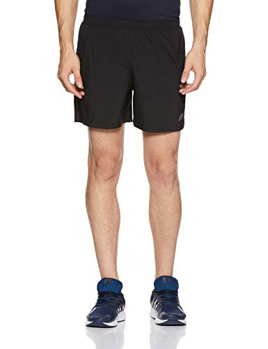 (New Balance Mens Accelerate 5 Inch Short, Black,)
