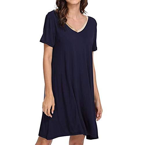 RAINED-Womens Cotton Nightgown Short Sleeve Sleep Nightdress Scoopneck Sleep Tee Nightshirt Lace Trim Sleep Shirt ()