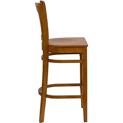 Flash Furniture HERCULES Series Vertical Slat Back Cherry Wood Restaurant Barstool ()