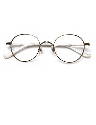 Full Circle Wrap - Komehachi - Delicate Unisex Oval Circle Thin Full Rim Prescription Ready Clear Lens Reading Eyeglasses School Eyewear (Platinum)