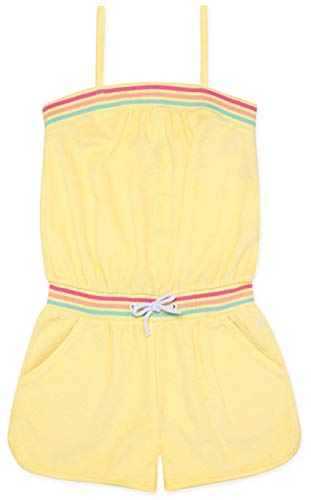 (Nautica Little Girls' Solid Romper, Loop Terry Lemonade, 5)