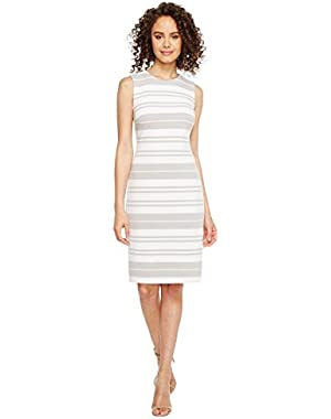 Calvin Klein Womens Stripe Ponte Sheath Dress