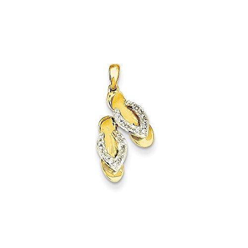 14k Number Flip Flop Pendant (Diamond2Deal 14k Yellow Gold Rhodium Plated Diamond Flip Flop Pendant)