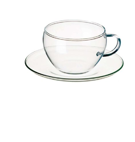 Simax Glassware 2452/4232/4 Eva Tea Cups with Saucer, 8.25-Ounce, Set of 4