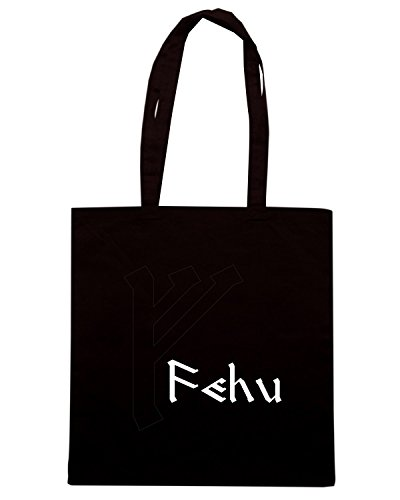 T-Shirtshock - Bolsa para la compra T0287 fehu religioni celtic Negro