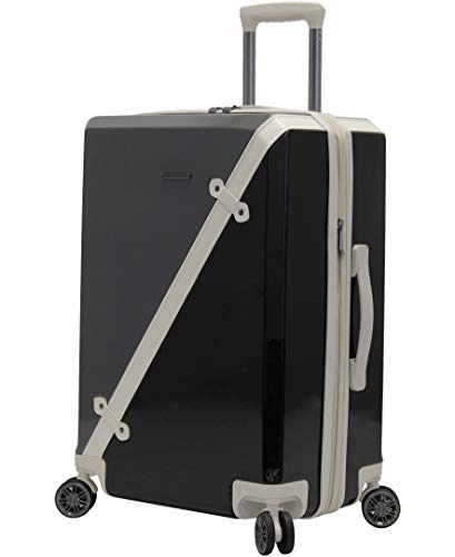BCBGeneration Designer Luggage Collection - Expandable 24 Inch (ABS+PC) Hardside Suitcase - Lightweight Midsize Checked Bag with 8-Rolling Spinner Wheels (Luxe Gunmetal/Black)