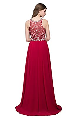 Firose Women's Scoop Neckline Beaded Long Chiffon Prom Dresses for 2018