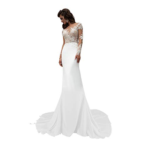 Mermiad Wedding Dress for Bride Long Sleeve Illusion Neck Sheer Bridal Prom Gown Ivory Size 12