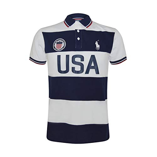 Polo Ralph Lauren Mens Custom Slim Fit Country Polo Shirt (Small, USA French Navy) ()