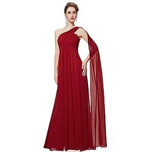 Ever-Pretty Vestito da Cerimonia Donna Monospalla Linea ad A Chiffon Stile Impero con Cinghia Lungo 09816