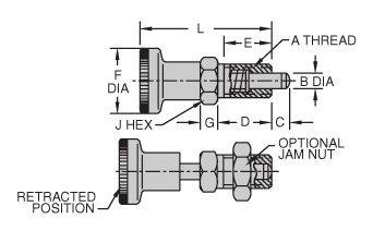 CL-10-HRPK-N Carr Lane Manufacturing Hand-Retractable Plunger, Knob Handle, Non-Locking Type: Thread 5/8-11 by Carr Lane Manufacturing (Image #1)