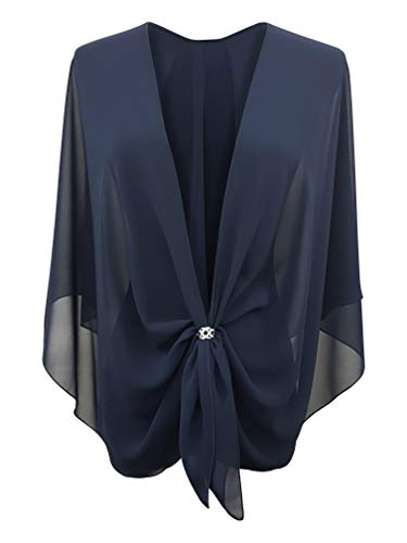 eXcaped Women's Evening Shawl Wrap Sheer Chiffon Open Front Cape and Silver Scarf Ring (Dark Navy)