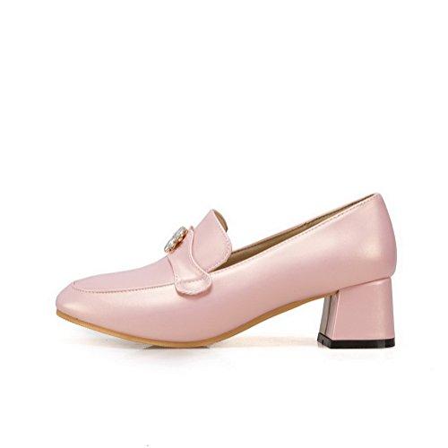 Pink Absatz Rein Blend Pumps Ziehen Damen Mittler Schuhe AllhqFashion Rund auf Materialien Zehe pBTn86