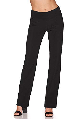 Beyond Travel Women's Wrinkle-Resistant Straight-Leg Knit Solid Color Pant Jet Black Medium Long by Beyond Proper by Boston Proper