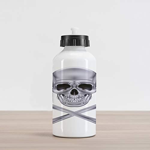 Ambesonne Grey Aluminum Water Bottle, Vivid Skull and