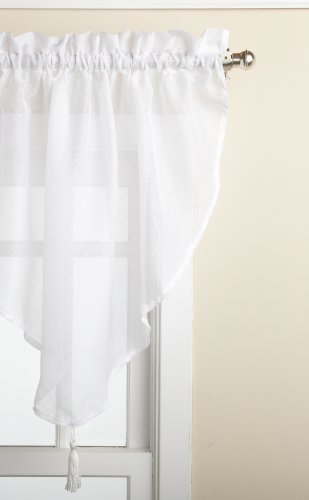 LORRAINE HOME FASHIONS Reverie 40-inch x 25-inch Ascot Valance, White
