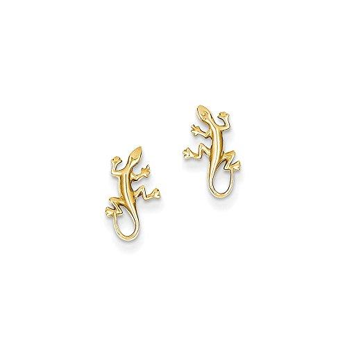 14K Gold Polished Gecko Post Earrings (0.47 in x 0.31 in)