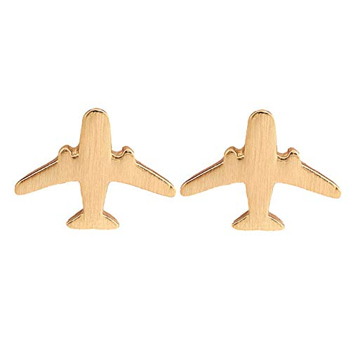 - fublousRR5 Women's Stud Earrings, Girls Unique Airplane Ear Studs Women Silver Plated Aircraft Stud Earrings Mini Size Ear Jewelry Accessory Gift Golden